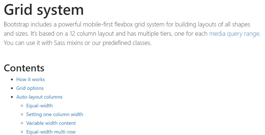 Bootstrap grid official documentation