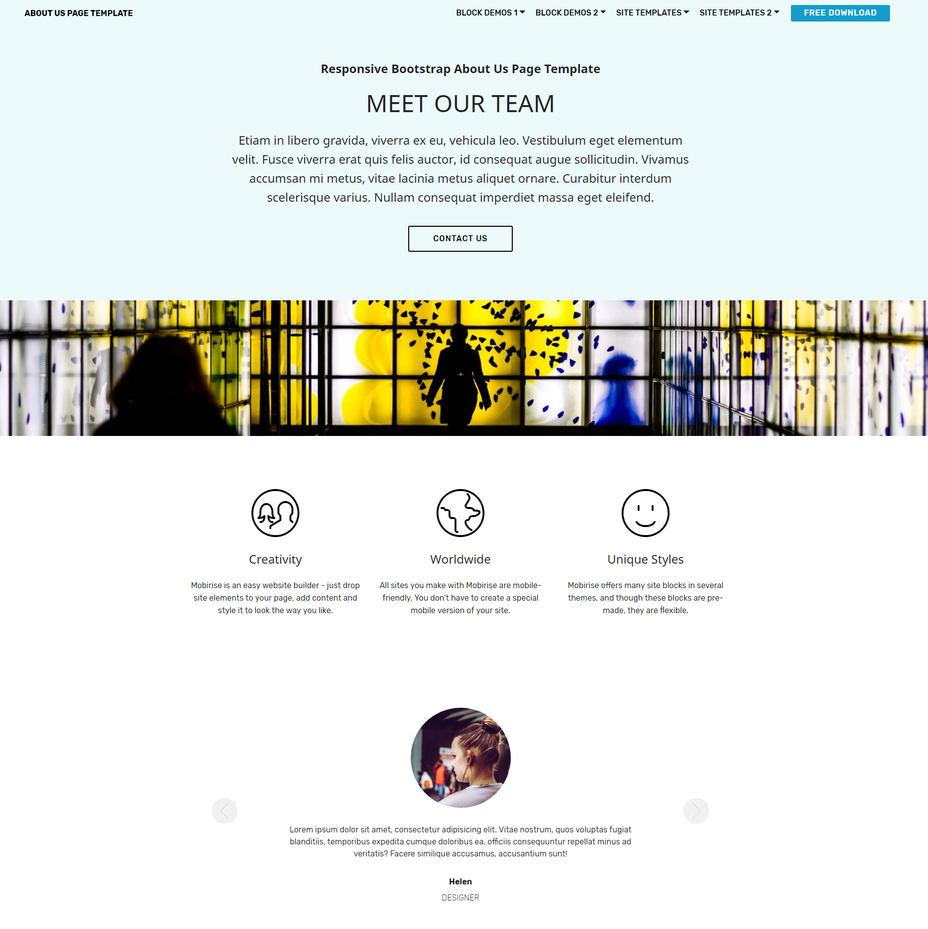 Free Download Bootstrap  About Us  Themes