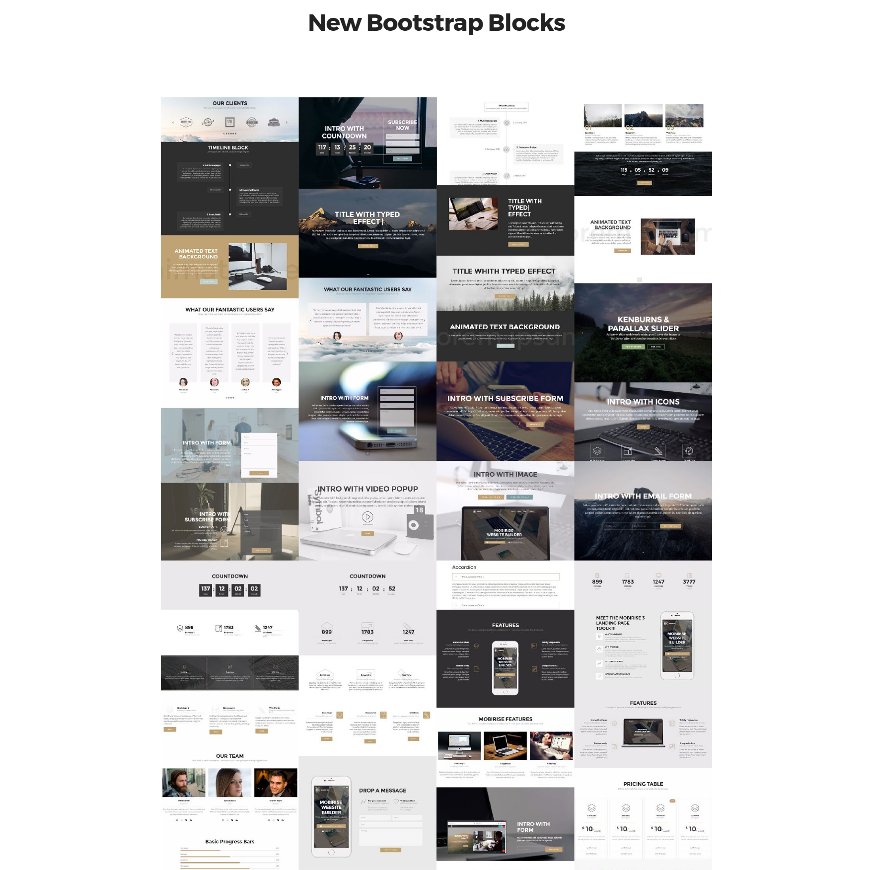 Free Bootstrap 4 mobile-friendly blocks Templates